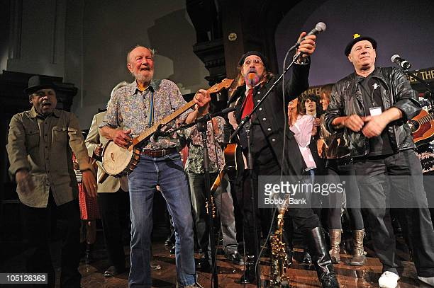 Garland JeffreysPete Seeger Mark Hudson and Neil Innes attend the John Lennon 70th birthday celebration at the New York Society for Ethical Culture...
