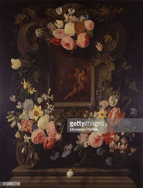 'Garland of Flowers with Verturmno and Pomona by Jan Philips van Thielen 17th century oil on canvas Italy Lombardy Milan Brera Collection Whole...