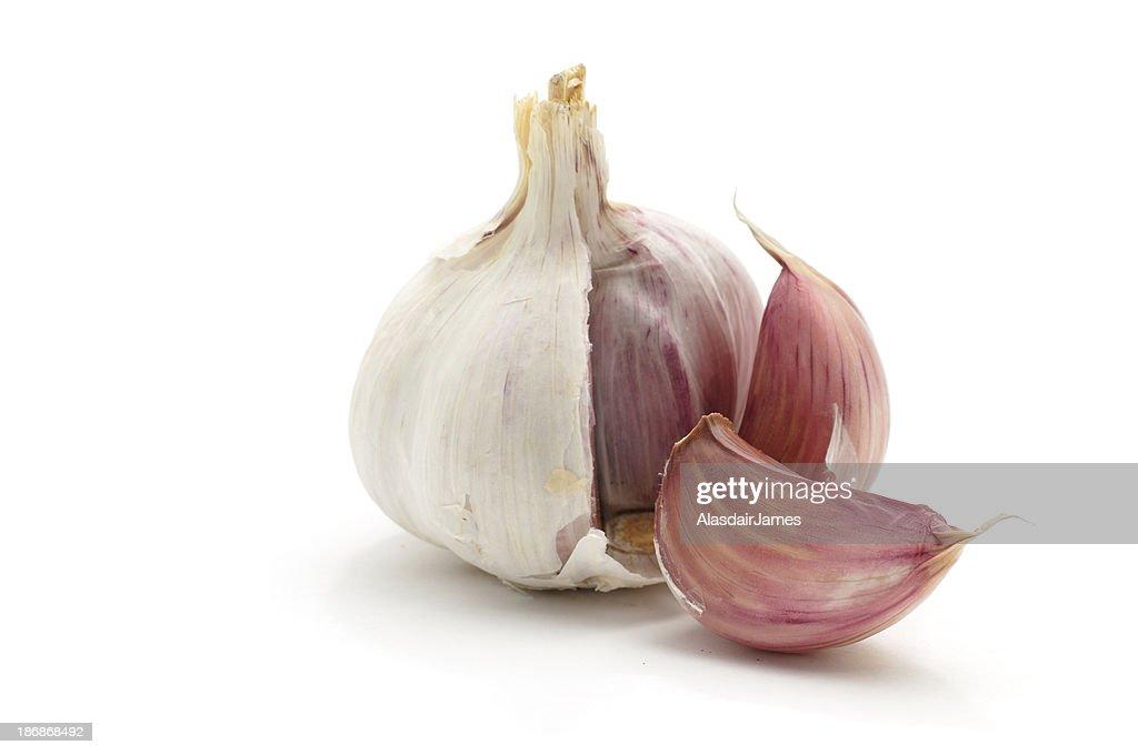 Garlic bulb split open : Stock Photo