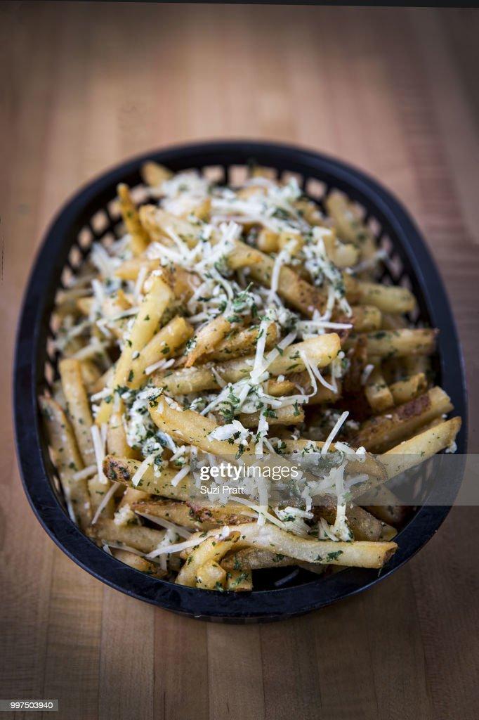 Garlic Cheese Fries : Stock Photo