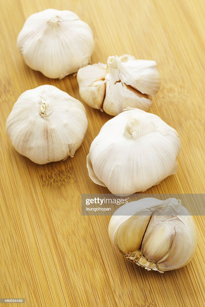 Knoblauch in Nahaufnahme : Stock-Foto