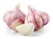 Garlic closeup isolated on white background. With clipping path.
