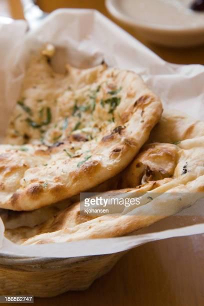 Garlic naan Indian flatbread pieces