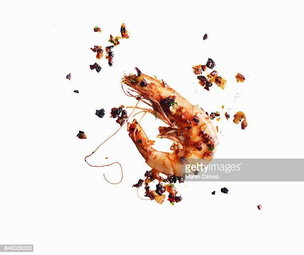 Garlic shrimp on white background