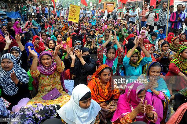 Garment workers protest in front of Press Club in Dhaka The AMCS Textile Limited in Adamjee EPZ stopped the litigation of garment worker causes the...