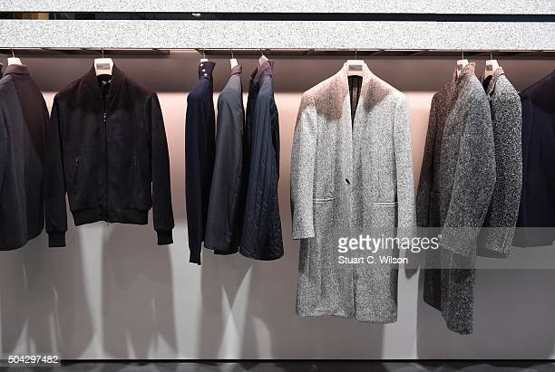 Garments on display at the Kilgour presentation during The London Collections Men AW16 at on January 10 2016 in London England