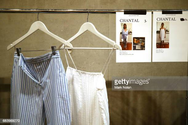 Garments on display backstage ahead of the ANNA QUAN show at MercedesBenz Fashion Week Resort 18 Collections at Carriageworks on May 17 2017 in...