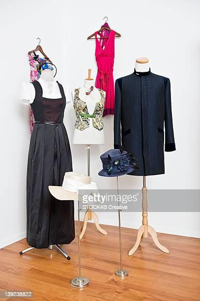 Garments on dressmaker's models