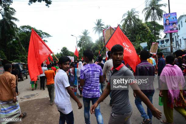 Garments Worker Trade Union Center calls a protest in front of the national press Club demanding raising the minimum wages for employees of the...