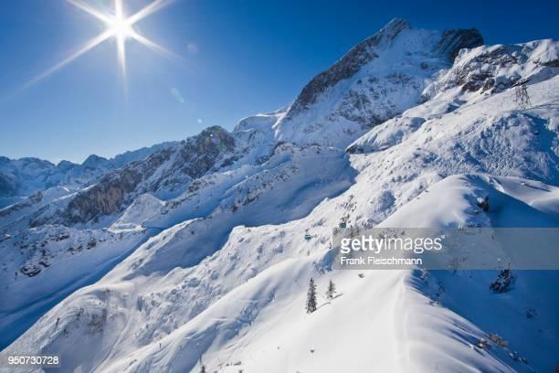 Garmisch Classic ski resort in winter, Alpspitze behind, Wetterstein, Garmisch-Partenkirchen District, Upper Bavaria, Bavaria, Germany