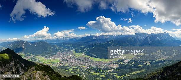 garmisch - partenkirchen at sunny day, germany - garmisch partenkirchen stock pictures, royalty-free photos & images