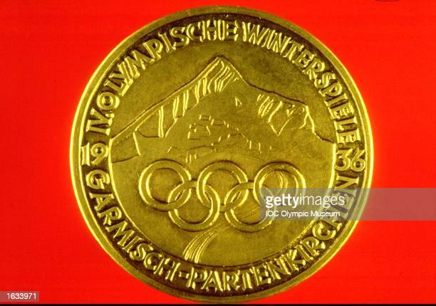 Garmisch-Partenkirchen Winter Olympic Games Commemorative Medal. The medal is in the IOC, Olympic Museum in Lausanne, Switzerland. \ Mandatory Credit: IOC, Olympic Museum /Allsport