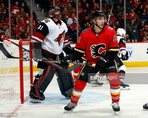 Garnet Hathaway of the Calgary Flames skates against the Arizona Coyotes during an NHL game on January 13 2019 at the Scotiabank Saddledome in...
