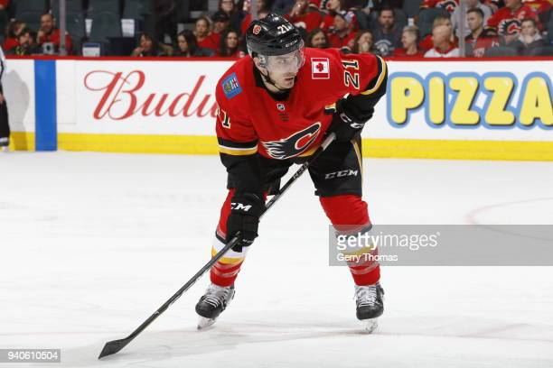 Garnet Hathaway of the Calgary Flames skates against the Florida Panthers during an NHL game on February 17 2018 at the Scotiabank Saddledome in...