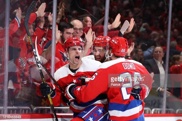 Garnet Hathaway of the Washington Capitals celebrates his goal against the Philadelphia Flyers during the second period at Capital One Arena on March...