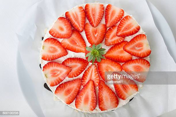 Garnished strawberry cream cheese tart, elevated view