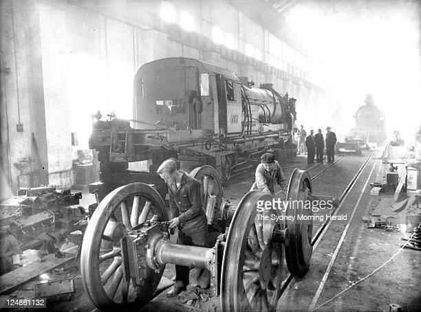 Garratt locomotive being assembled at Everleigh Workshop Redfern on 14 July 1952