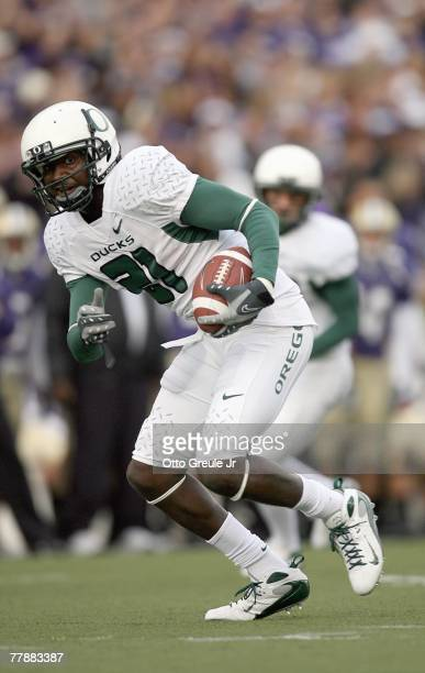 Garren Strong the Oregon Ducks carries the ball during the game against the Washington Huskies at Husky Stadium on October 20 2007 in Seattle...