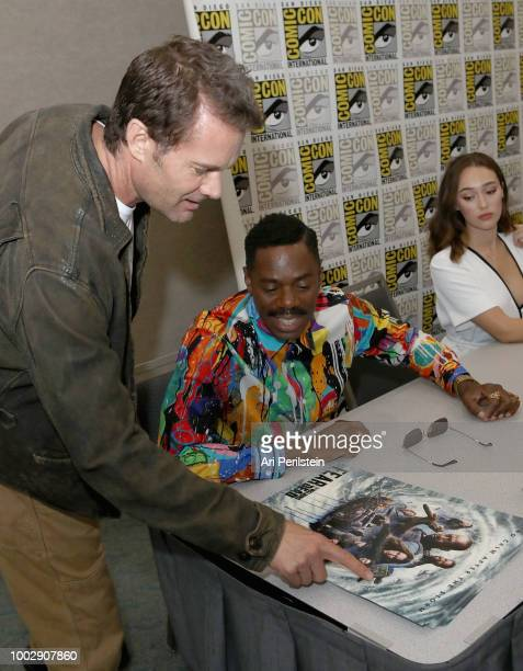 Garret Dillahunt Colman Domingo and Alycia DebnamCarey attend the 'Fear the Walking Dead' autograph signing with AMC during ComicCon International...