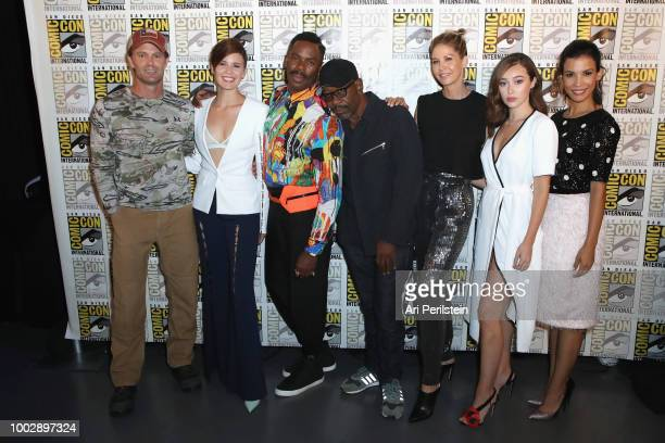 Garret Dillahunt Maggie Grace Colman Domingo Lennie James Jenna Elfman Alycia DebnamCarey and Danay García attend the 'Fear the Walking Dead' panel...