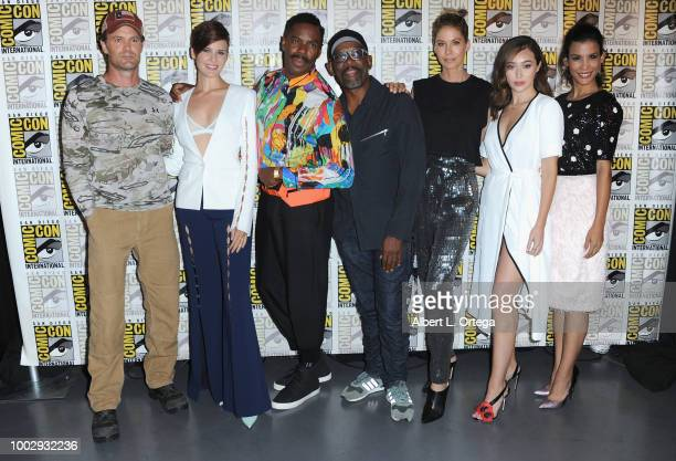 Garret Dillahunt Maggie Grace Colman Domingo Lennie James Jenna Elfman Alycia DebnamCarey and Danay Garcia attend AMC's 'Fear The Walking Dead' panel...