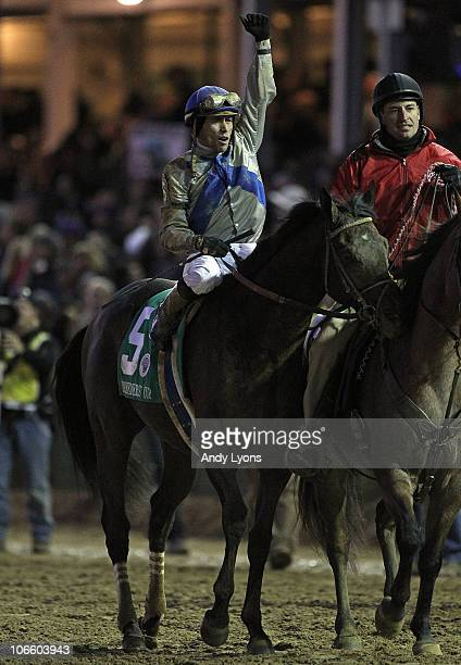 Garret Gomez sitting on Blame celebrates after winning the Classic during the Breeders' Cup World Championships at Churchill Downs on November 6 2010...