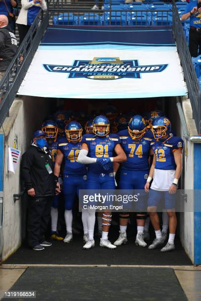 Garret Greenfield and Skyler Cavanaugh of the South Dakota State Jackrabbits before the game against the South Dakota State Jackrabbits during the...