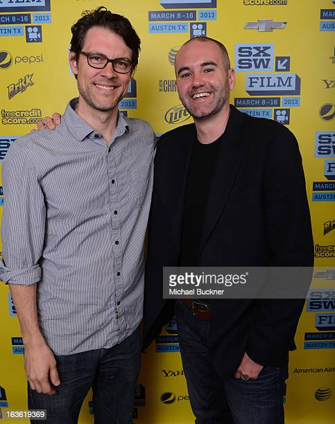 Garret Savage andFilm editor Jim Hession who was awarded the Karen Schmeer Film Editing Fellowship attends the 2013 SXSW Film Awards during the 2013...