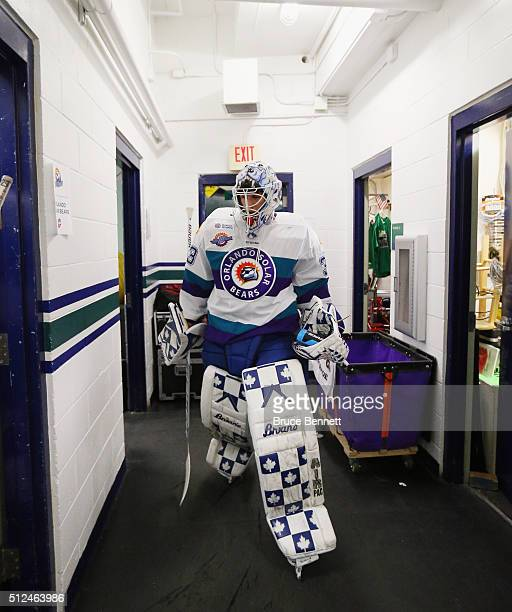 Garret Sparks of the Orlando Solar Bears returns to the lockerroom following warmups on a road trip to play the Florida Everblades at the Germain...