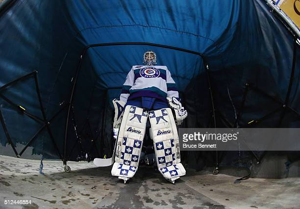 Garret Sparks of the Orlando Solar Bears waits for warmup ice to be ready prior to the game against the Florida Everblades at the Germain Arena on...