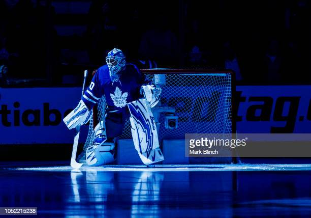 Garret Sparks of the Toronto Maple Leaf takes to the ice before facing the Los Angeles Kings at the Scotiabank Arena on October 15 2018 in Toronto...
