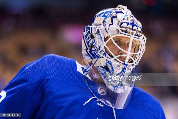 Garret Sparks of the Toronto Maple Leafs during warm up before a game against the Columbus Blue Jackets at the Scotiabank Arena on November 19 2018...