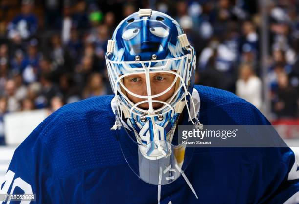 Garret Sparks of the Toronto Maple Leafs during warm up before a game against the New York Rangers at the Scotiabank Arena on March 23 2019 in...