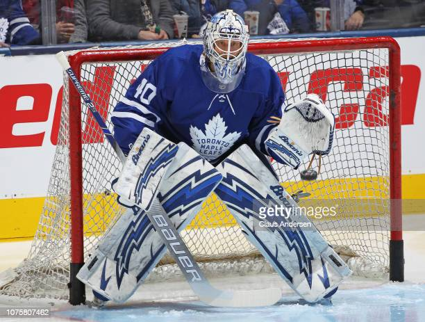 Garret Sparks of the Toronto Maple Leafs faces a shot during warmup prior to action against the New York Islanders in an NHL game at Scotiabank Arena...
