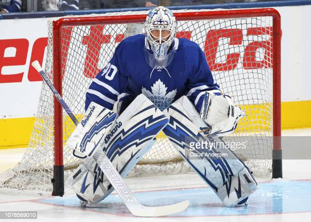 Garret Sparks of the Toronto Maple Leafs faces a shot during warmup prior to action against the Detroit Red Wings in an NHL game at Scotiabank Arena...