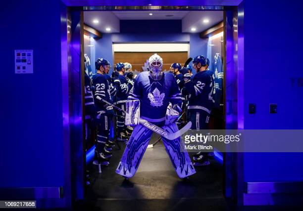 Garret Sparks of the Toronto Maple Leafs gets ready to face the Detroit Red Wings at the Scotiabank Arena on December 6 2018 in Toronto Ontario Canada