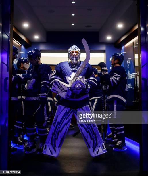 Garret Sparks of the Toronto Maple Leafs gets ready to head to the ice before facing the Carolina Hurricanes at the Scotiabank Arena on April 2 2019...