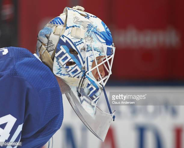 Garret Sparks of the Toronto Maple Leafs gets set to face the Buffalo Sabres in an NHL preseason game at Scotiabank Arena on September 21 2018 in...