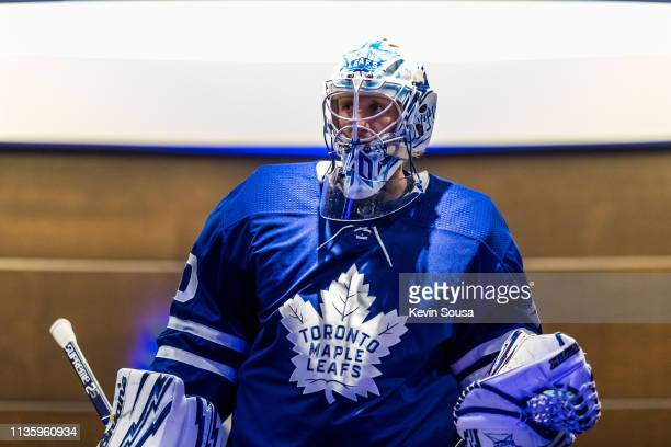 Garret Sparks of the Toronto Maple Leafs leaves the locker room before playing the Chicago Blackhawks at the Scotiabank Arena on March 13 2019 in...