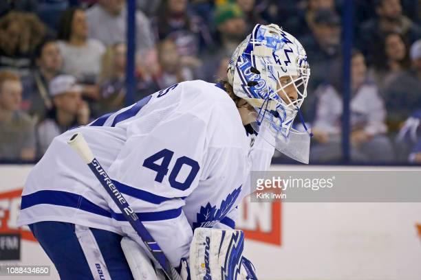 Garret Sparks of the Toronto Maple Leafs lines up for a face off during the game against the Columbus Blue Jackets on December 28 2018 at Nationwide...