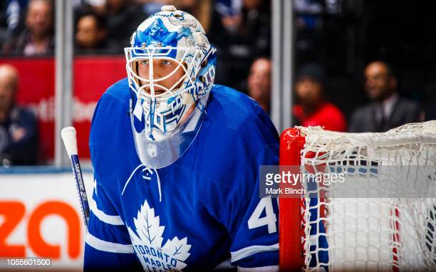 Garret Sparks of the Toronto Maple Leafs looks on against the Los Angeles Kings during the second period at the Scotiabank Arena on October 15 2018...