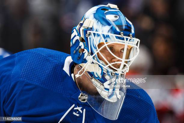 Garret Sparks of the Toronto Maple Leafs looks on against the Carolina Hurricanes during the first period at the Scotiabank Arena on April 2 2019 in...