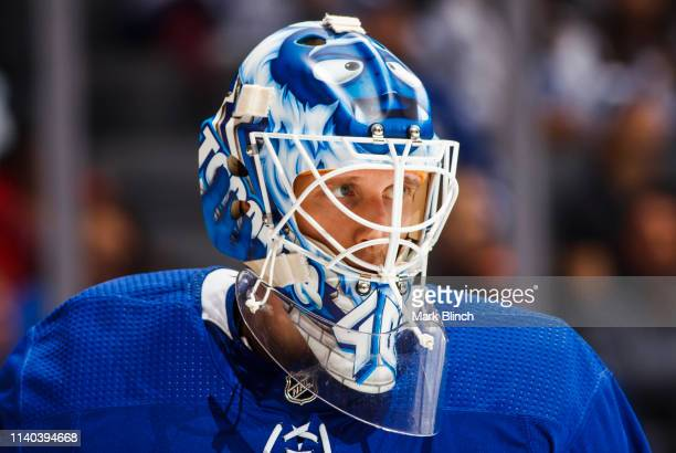 Garret Sparks of the Toronto Maple Leafs looks on against the Carolina Hurricanes during the second period at the Scotiabank Arena on April 2 2019 in...