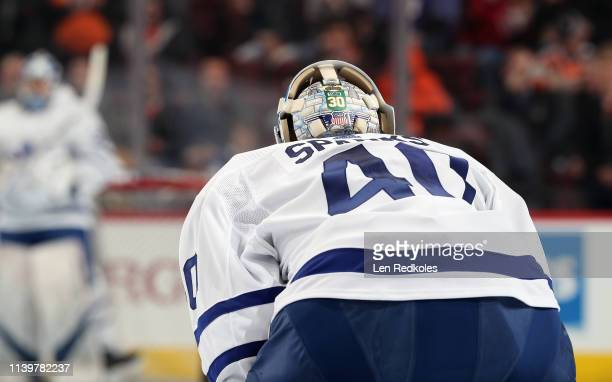 Garret Sparks of the Toronto Maple Leafs looks on during warmups against the Philadelphia Flyers on March 27 2019 at the Wells Fargo Center in...