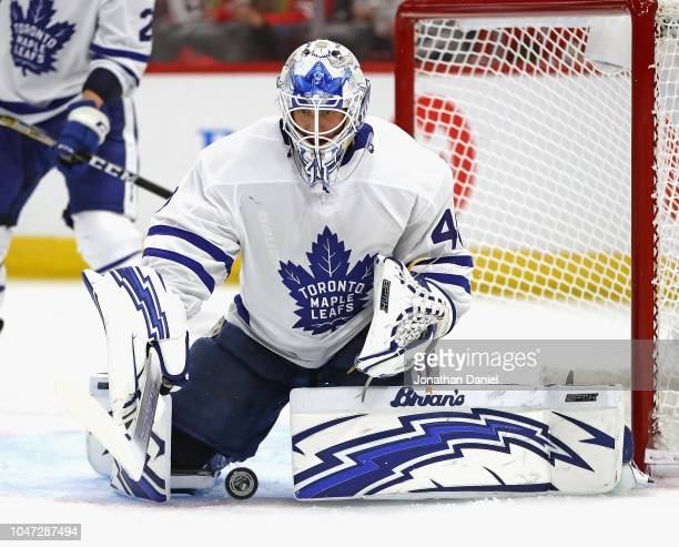 Garret Sparks of the Toronto Maple Leafs makes a save against the Chicago Blackhawks during the regular seasopn opening home game at the United...