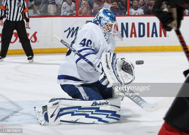 Garret Sparks of the Toronto Maple Leafs makes a save against the Ottawa Senators at Canadian Tire Centre on March 30 2019 in Ottawa Ontario Canada