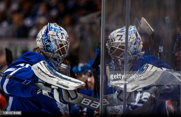 Garret Sparks of the Toronto Maple Leafs makes his way to the bench after a whistle during the second period against the Philadelphia Flyers at the...