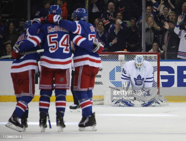 Garret Sparks of the Toronto Maple Leafs reacts as Adam McQuaid of the New York Rangers scores at 159 of the third period at Madison Square Garden on...