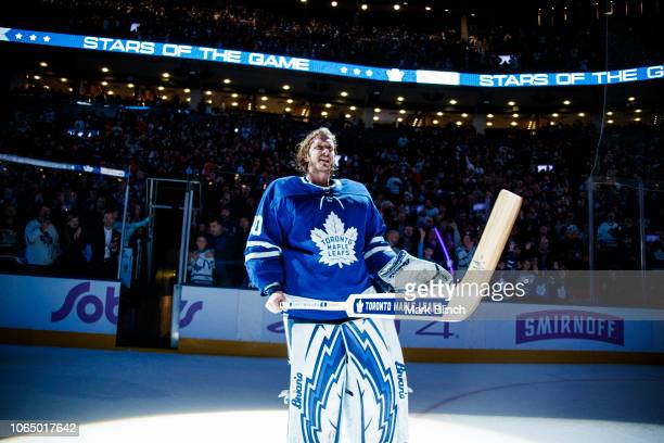 Garret Sparks of the Toronto Maple Leafs receives a star of the game after defeating the Philadelphia Flyers at the Scotiabank Arena on November 24...