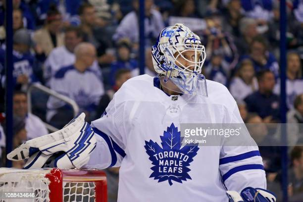 Garret Sparks of the Toronto Maple Leafs rests during a stoppage in play in the game against the Columbus Blue Jackets on December 28 2018 at...